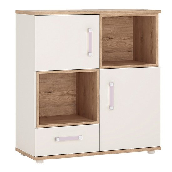 Kroft Wooden Open Storage Cabinet In White High Gloss And Oak_1