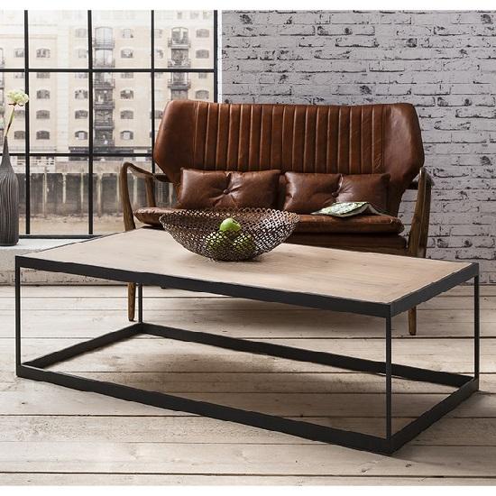 Kross Wooden Coffee Table Rectangular With Metal Framework