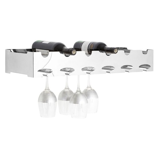 Kurhah 6 Bottles Wide Stainless Steel Wine Rack In Silver