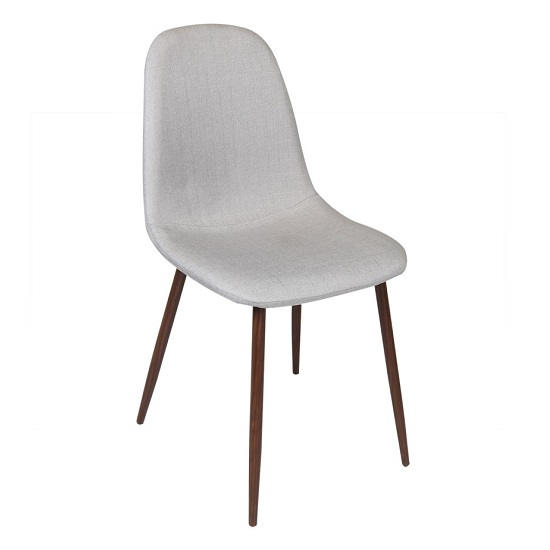 Kyle Fabric Dining Chair In Grey With Wooden Legs