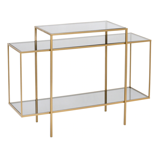 View Kyle glass top console table in gold