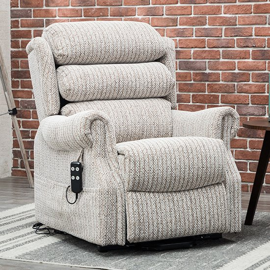 Product photograph showing Ladbroke Fabric Electric Recliner Chair In Wheat