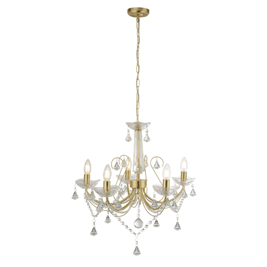 View Lafayette gold 5 light with crystal column ceiling light