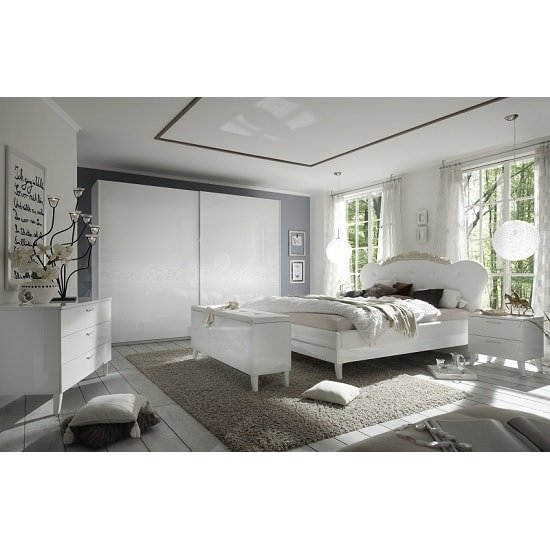 Lagos Super King Bed In High Gloss White With PU Headboard_3