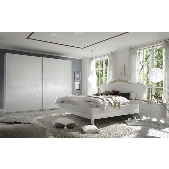 Lagos Super King Bed In High Gloss White With PU Headboard_2