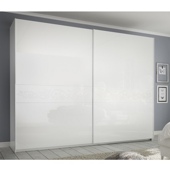 Lagos High Gloss Sliding Wardrobe In White And Floral Glitter