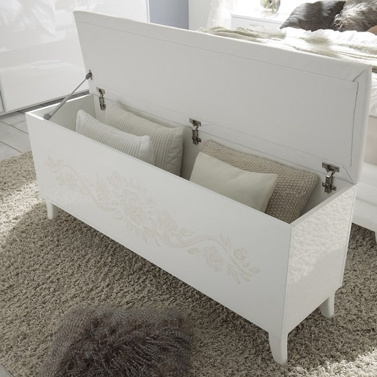 Swell Lagos Storage Bench In High Gloss White With Pu Seat Dailytribune Chair Design For Home Dailytribuneorg