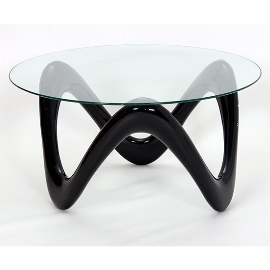Lamar Clear Glass Coffee Table With Black Base