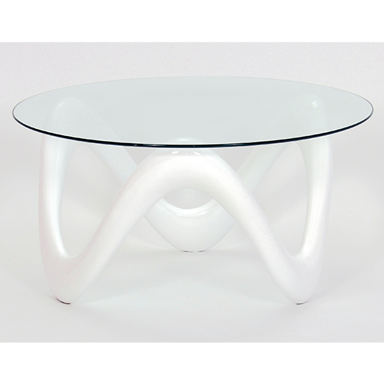 Lamar Clear Glass Coffee Table With White Base