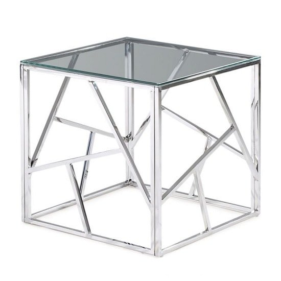 Lamont Glass Side Table With Polished Stainless Steel Frame