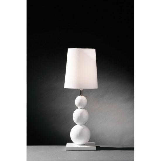 White Mango Wood with White Fabric Shade Table Lamp