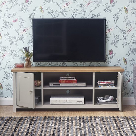 Lancaster Wooden Large TV Unit In Grey_2