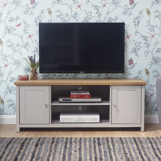 Lancaster Wooden Large TV Unit In Grey_1