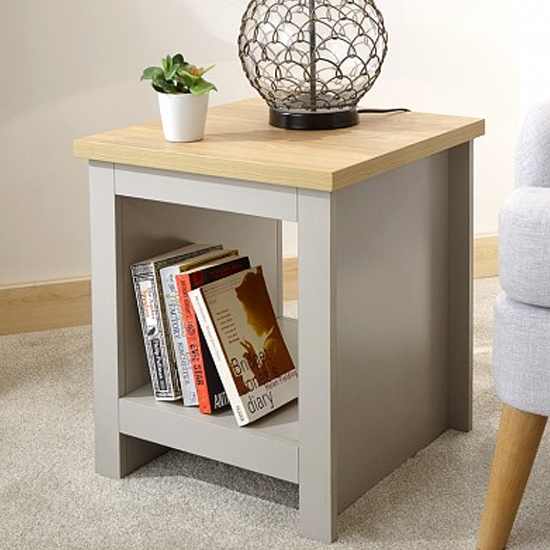 Valencia Wooden Side Table with Shelf In Grey
