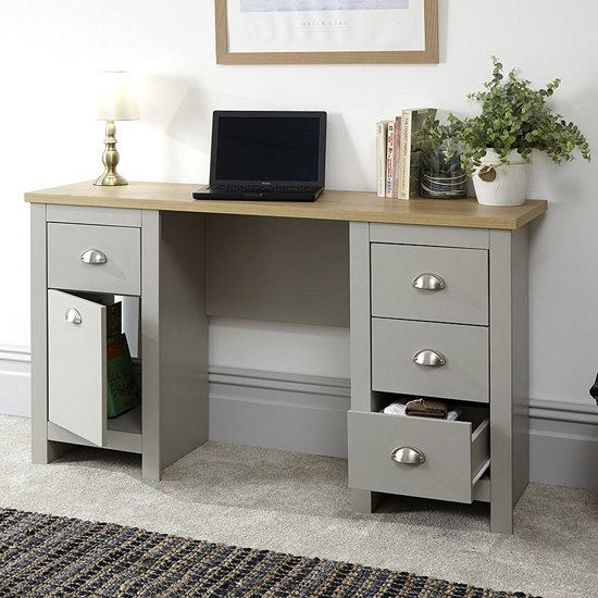 Valencia Wooden Study Desk In Grey With 1 Door And 4 Drawers_2