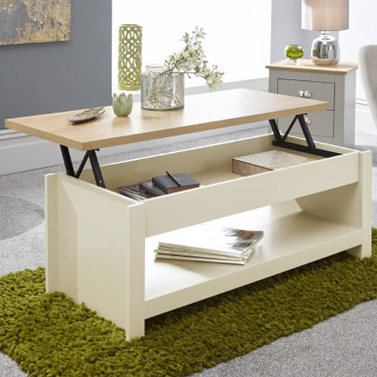 Valencia Wooden Lift Up Coffee Table In Cream And Oak_2