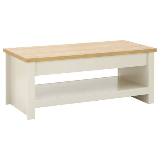 Valencia Wooden Lift Up Coffee Table In Cream And Oak_3