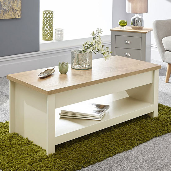 View Valencia wooden lift up coffee table in cream and oak