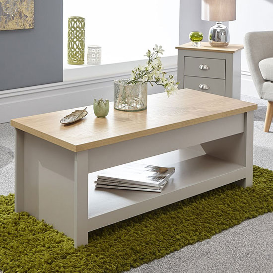 View Valencia wooden lift up coffee table in grey and oak