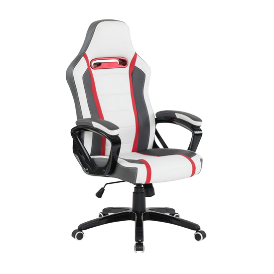 Landon PU Home And Office Chair In White Grey Red
