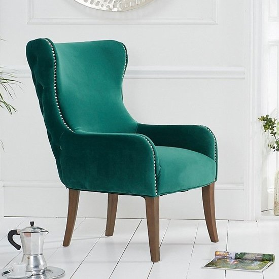Landos Velvet Accent Chair In Green With Dark Oak Legs_1
