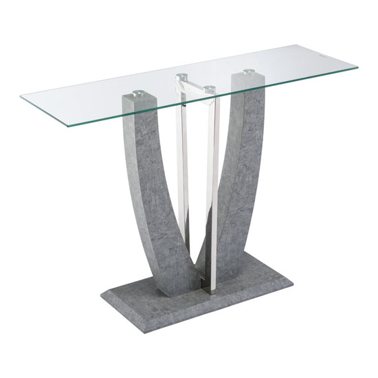 Langham Clear Glass Console Table With Concrete Look Base