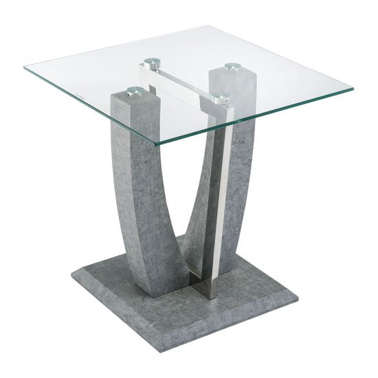 Langham Clear Glass Lamp Table With Concrete Look Base