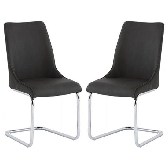 Langham Dark Grey Pu Leather Dining Chair In A Pair
