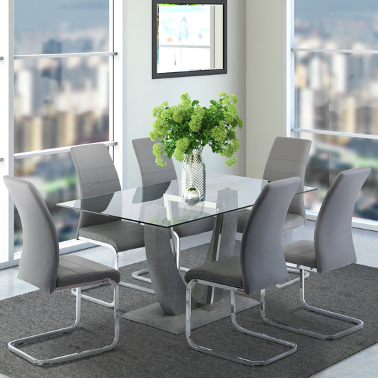 Langham Glass Dining Set In Clear With 6 Soho Chairs
