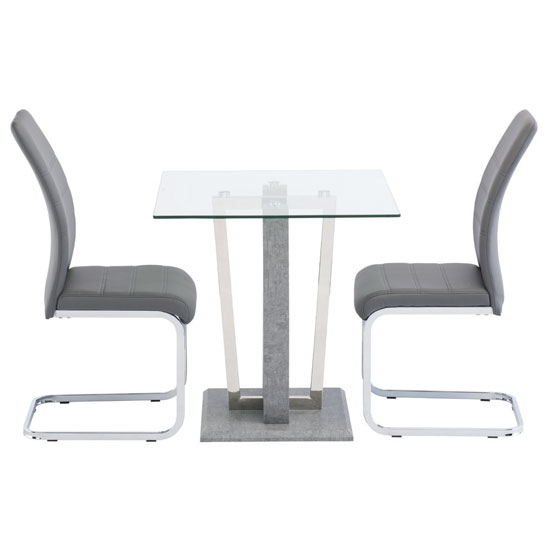 Langham Glass Square Dining Set In Clear With 2 Soho Chairs