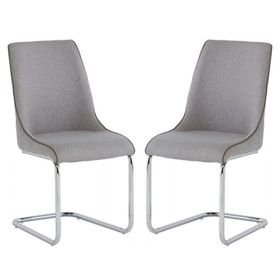 Langham Light Grey Fabric Dining Chair In A Pair