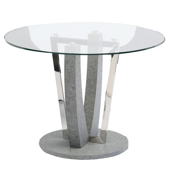 Langham Round Glass Dining Table With Concrete Effect Base