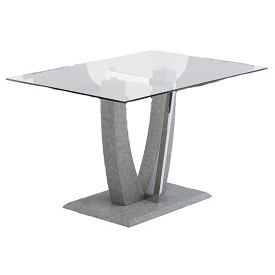 Langham Small Glass Dining Table With Concrete Effect Base