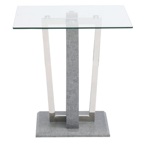 Langham Square Glass Dining Table With Concrete Effect Base