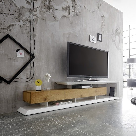 Langley TV Stand In Matt White And Knotty Oak With 3 Drawers_1