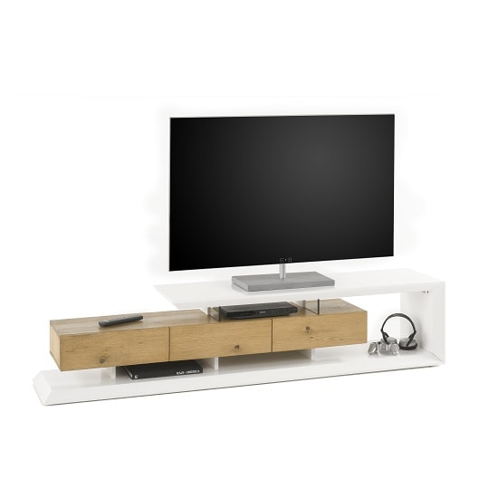 Langley TV Stand In Matt White And Knotty Oak With 3 Drawers_3
