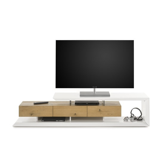 Langley TV Stand In Matt White And Knotty Oak With 3 Drawers_4