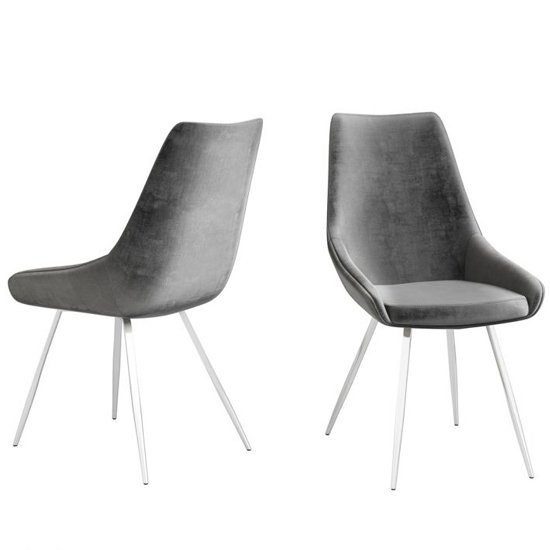 Lanna Dark Grey Velvet Fabric Dining Chairs In Pair_2