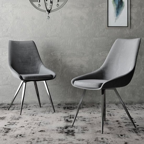 Lanna Dark Grey Velvet Fabric Dining Chairs In Pair_1