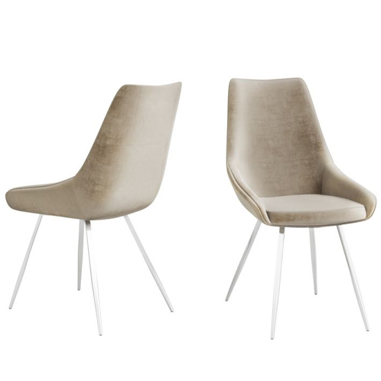 Lanna Mink Velvet Fabric Dining Chairs In Pair_2
