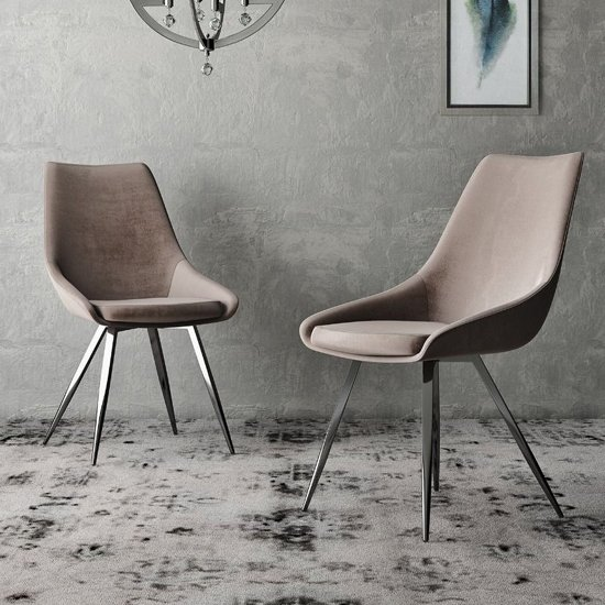 Lanna Mink Velvet Fabric Dining Chairs In Pair_1