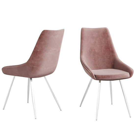 Lanna Pink Velvet Fabric Dining Chairs In Pair_2