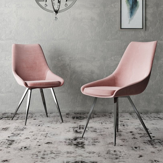 Lanna Pink Velvet Fabric Dining Chairs In Pair_1