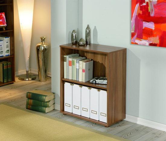 Lanza 1 Tier Shelving Unit Bookcase in Walnut