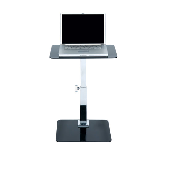 Adjustable Black Glass Laptop Table, LAASBC