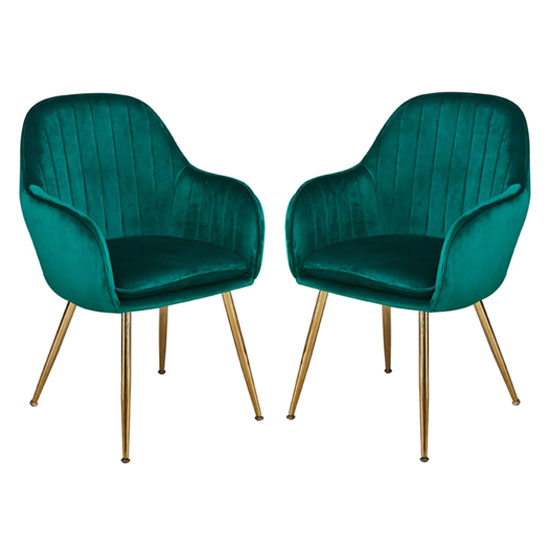 Lara Forest Green Dining Chair With Gold Legs In Pair