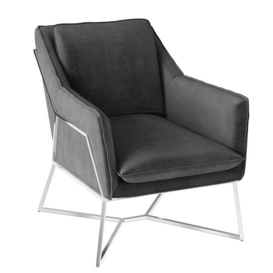 Lara Velvet Fabric Lounge Chair In Dark Grey_1