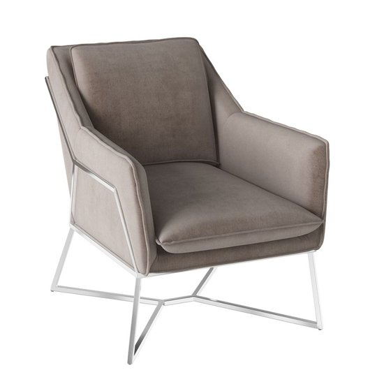 Lara Velvet Fabric Lounge Chair In Mink