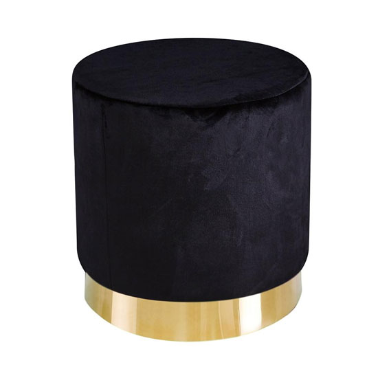 Lara Velvet Pouffe In Black_1