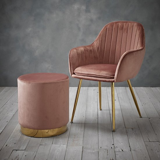 Lara Velvet Pouffe In Dusty Pink_2